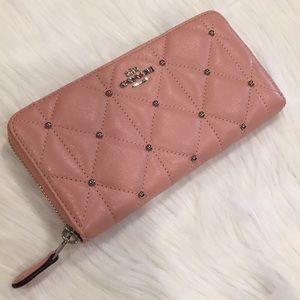 COACH Quilted Leather Accordion Zip Studded Wallet